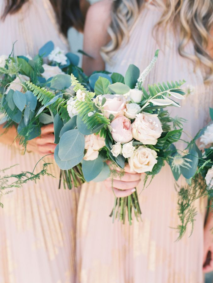 Classic blush and cream bridesmaid bouquet: http://www.stylemepretty.com/2015/11/30/classic-summer-wedding-at-the-adamson-house/   Photography: Diana McGregor - http://www.dianamcgregor.com/
