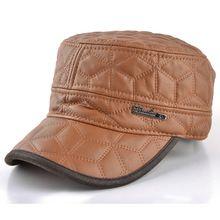2015 nieuwe militaire hoeden voor mannen plus fluwelen warme imitatie lederen oorbeschermers hoed gorras planas bot cap winter caps mannen casquette(China (Mainland))