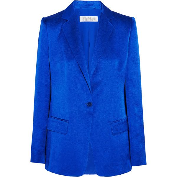 Max Mara Hammered silk-satin blazer ($1,465) ❤ liked on Polyvore featuring outerwear, jackets, blazers, royal blue, shoulder pad jacket, shoulder pad blazer, royal blue blazer, blue blazer and royal blue blazer jacket