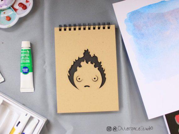 Studio Ghibli Theme Notebook  Calcifer Spiral by OtterspaceStudio