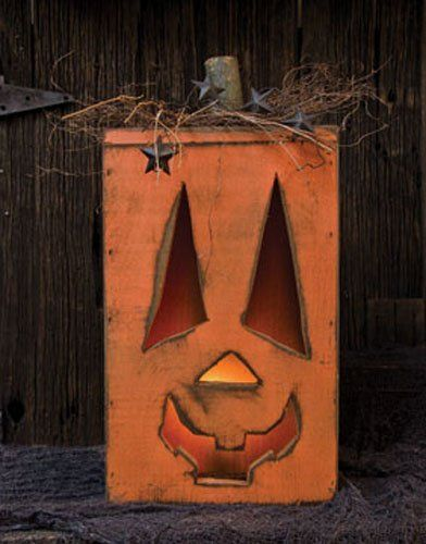 Pumpkin   Handcrafted Wood Lighted Jack Ou0027Lantern   Primitive Country  Rustic Seasonal Halloween Decor
