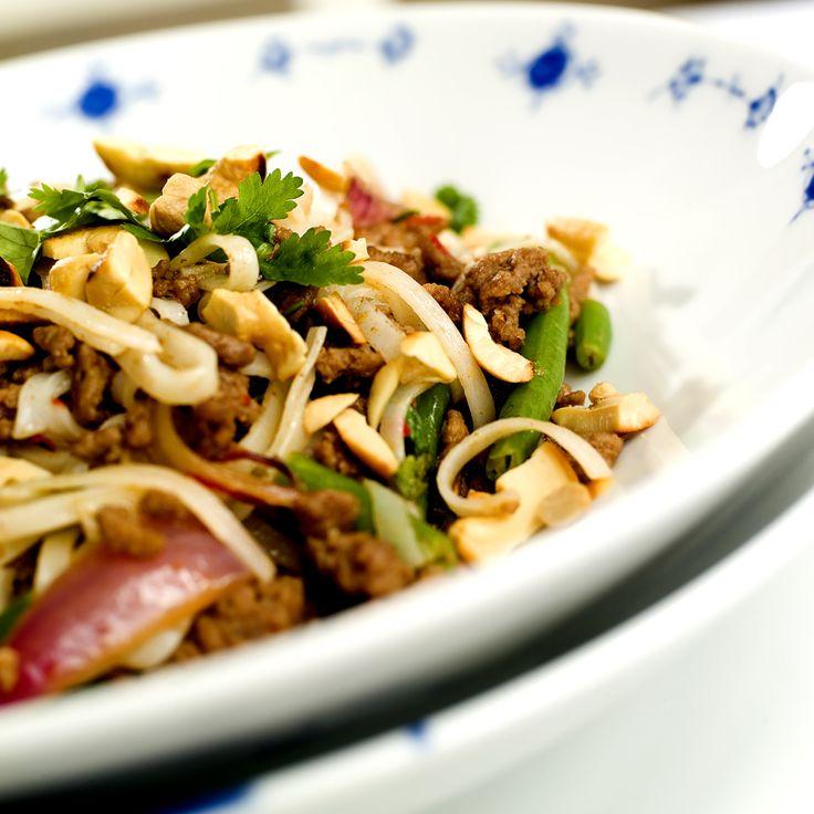 wok med kjøttdeig