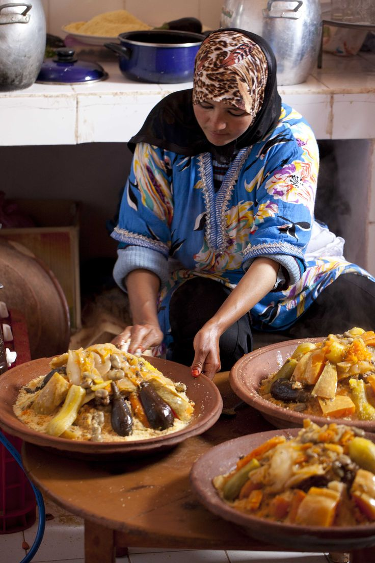 Traditional couscous preparation is an elaborated process for Authentic moroccan cuisine