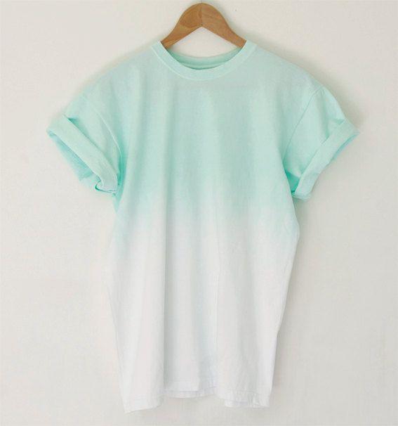 Mint Unisex Ombre Dip Dye 100% Cotton T Shirt size  S M L XL