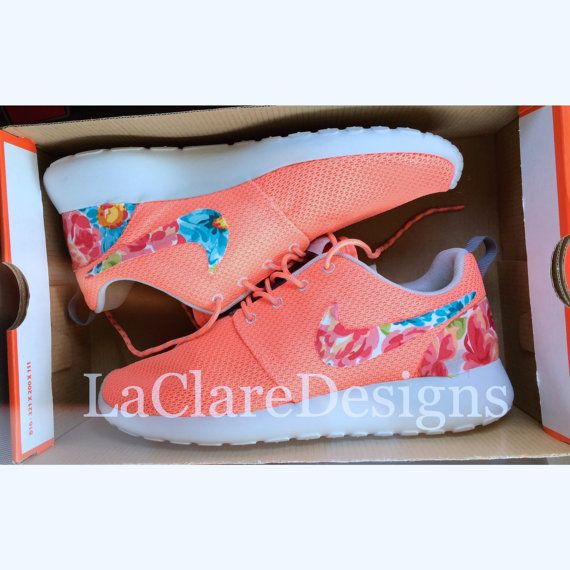 Floral Nike Roshe Run Atomic Pink by LaClareDesigns by Bridgette Cobena on Etsy