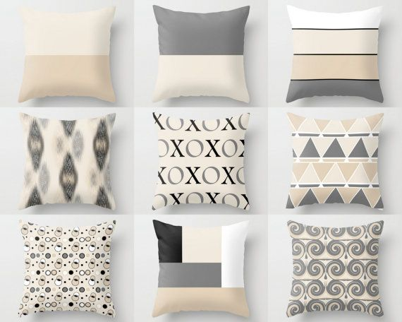Throw Pillow Covers Geometric Home Decor Grey Black White Beige XOXO Pillow Throw Pillow Covers Decorative Covers