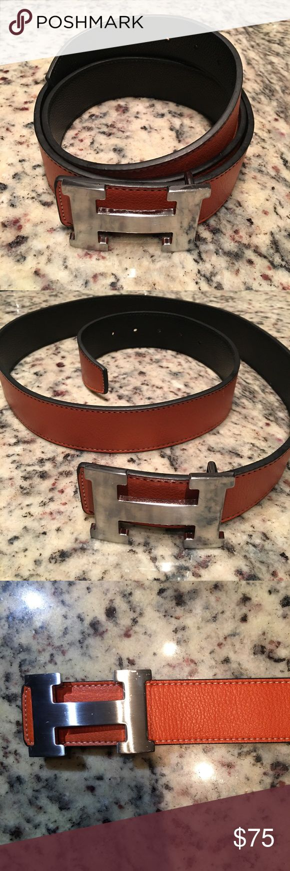 High Quality Hermes belt from Original Collection What you see it's what you'll get. Beautiful Top quality Hermes from original versions. Oranges belt with silver buckle in size 47 inches / 120 centimeters and I can make extra wholes to adjust to smaller size... Hermes Accessories Belts