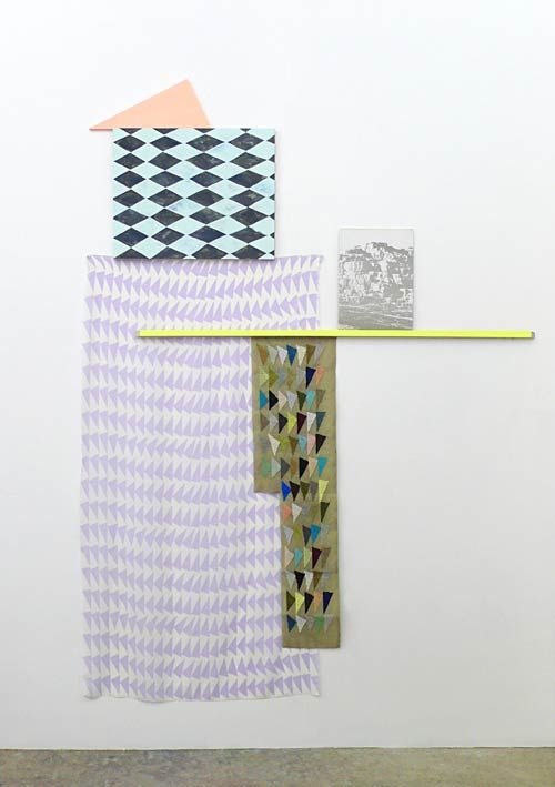 Fiona Curran, The Horizon of Expectation, 2012  Acrylic on Wooden Panel, Fabric, Needlepoint, Wood, MDF, Book Sleeve  2000mm h × 1450mm w × 25mm d  © 2013