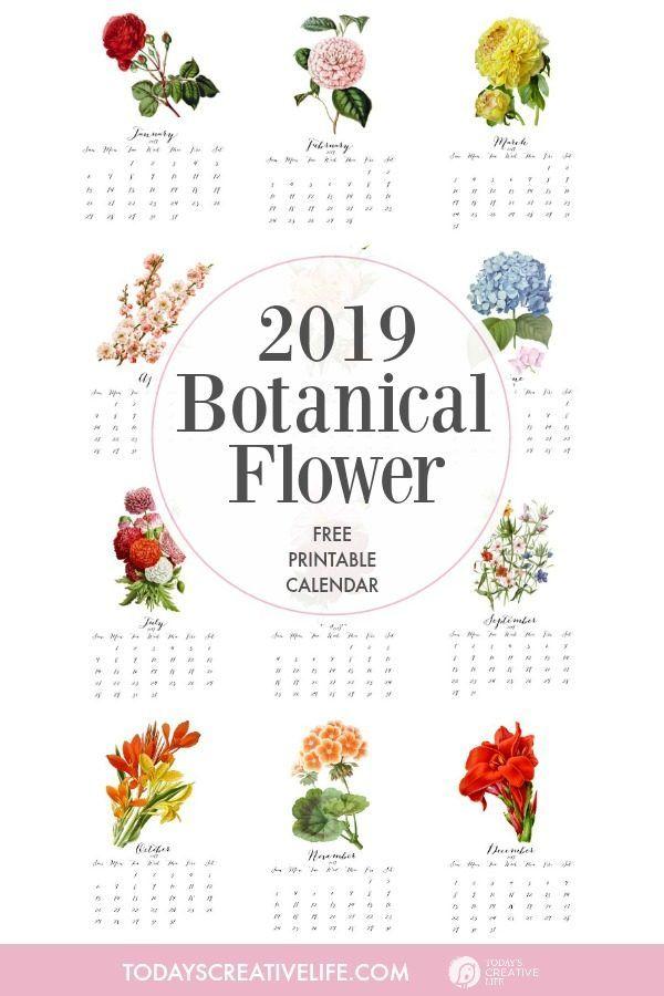 2019 printable botanical flower calendar