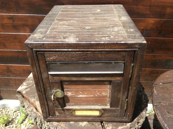 Vintage French wooden large mailbox postbox letterbox post parcel house circa 1960s / English Shop