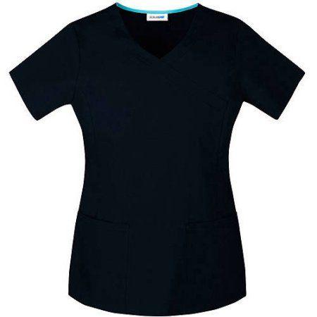 7cafd1cf5de Scrubstar Women's Premium Collection Stretch Mock Wrap Scrub Top, Black |  Products | Scrub tops, Tops, Wraps