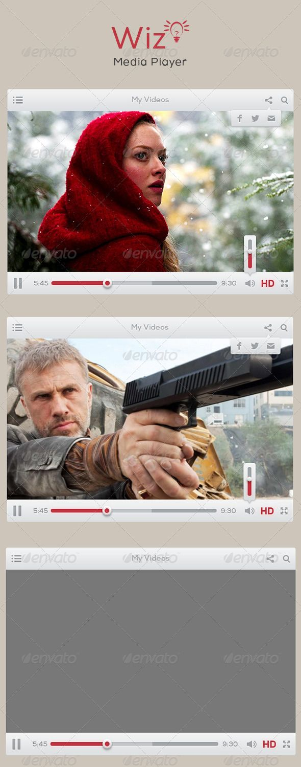 Wiz Media Player UI  Wiz Video player for website for video player, video streaming, video sharing. Render in JPG format and layered PSD.