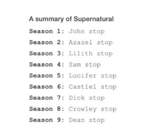"Supernatural: A Summary<-- A series summary: ""Kripke stop"""