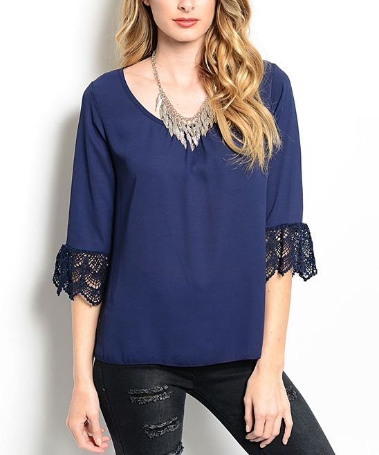 Blue Crochet-Cuff V-Neck Top | zulily