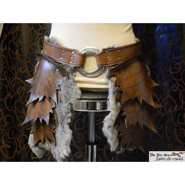Leather leaf tasset (upper leg armor), spring or fall color with fur... ($220) ❤ liked on Polyvore featuring costumes, weapons, armor, oz costume, wizard of oz costumes, elf costume, green costume and green elf costume