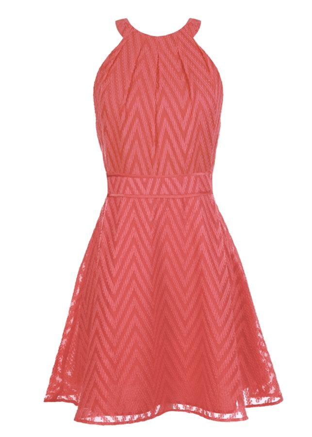 Coral chevron fit & flare dress - love the halter style