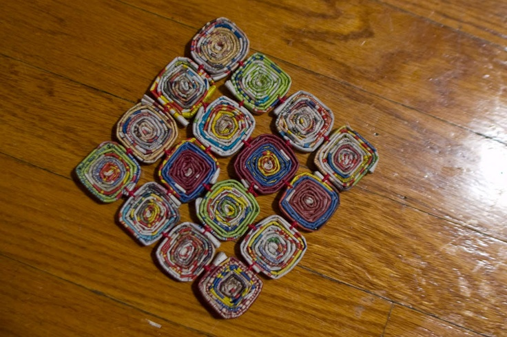 potholder / trivet / thing-to-put-hot-things-on made entirely from old newspaper