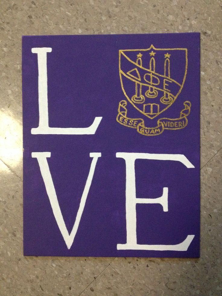 LOVE canvas with Delta Phi Epsilon crest for my little