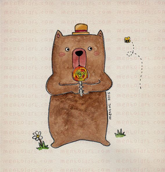 Children room decor, kids art, girls room pictures, nursery art, home decoration -- Cute Bear and His Lollipop Candy -- by. MentolArt
