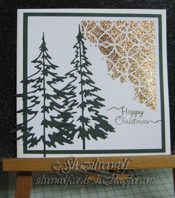 Silverwolf Cards. TH Thinlits Woodlands and stencil Latticework.