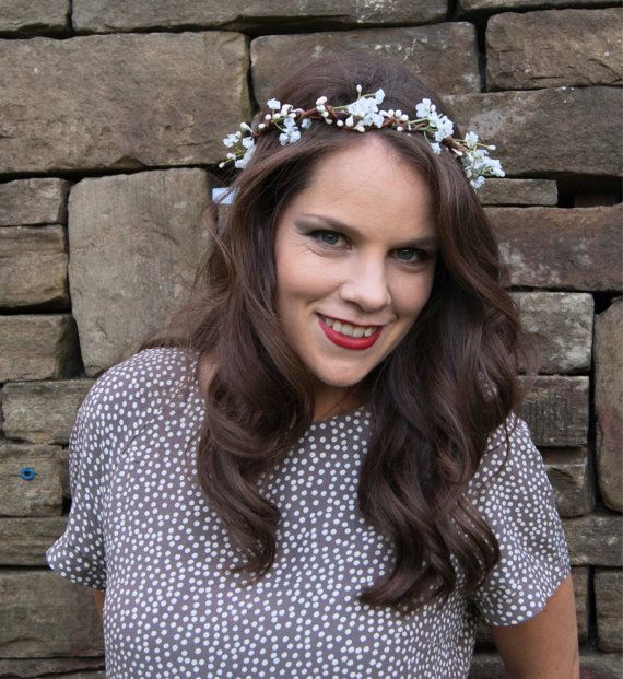 Rustic White Gypsophila Floral Crown Halo Flower Girl by Flashfloozy