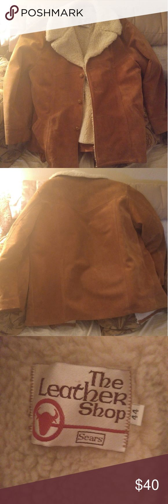 Marlboro man from Sears the leather shop sz 44 Vintage Marlboro man sz 44 leather coat from The Leather Shop at Sears, beautiful condition except for pulling at left shoulder seam pictured. Sears Jackets & Coats