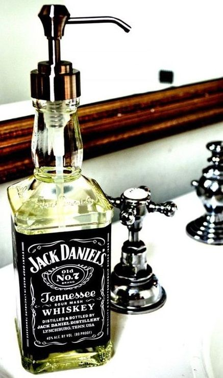 Jack Daniels bottle reuse. Maybe the BEST way ever to store soap in your PUB or BAR. #giftmeapp.org