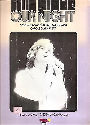 Sheet Music 1978 Our Night Shaun Cassidy 212