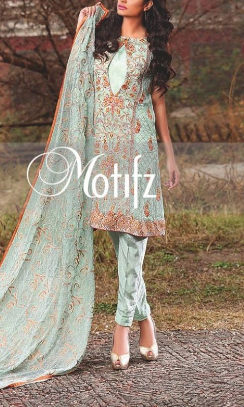 Buy Light Green Embroidered Crinkle Chiffon Dress by Motifz 2016
