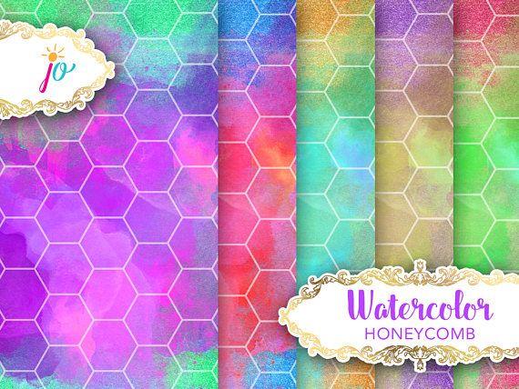 Honeycomb Watercolor Paper Digital Download bold honeycomb
