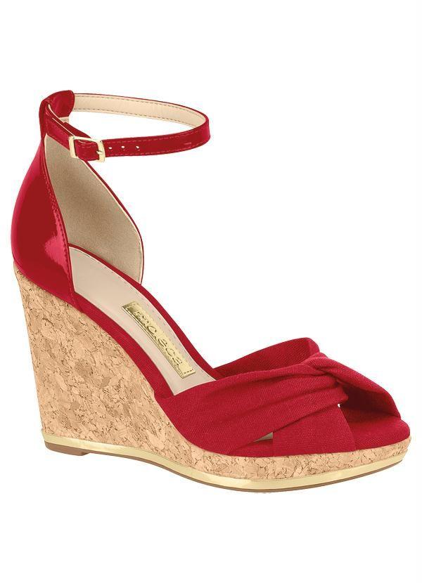 Sandália Plataforma (Vermelha) Moleca