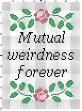 Mutual Weirdness Forever  Wedding Cross Stitch by SnarkyArtCompany