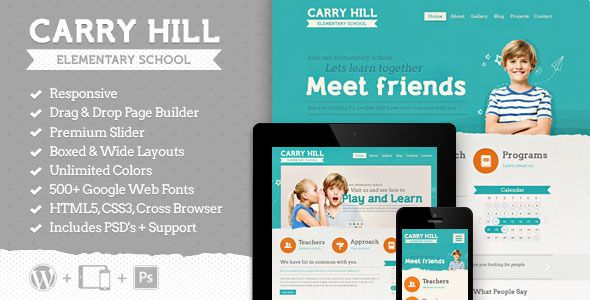 Carry Hill School is a beautifully designed Wordpress Theme for your child school, child care, but it would suit any children, art, craft or creative website. It comes with Vi...