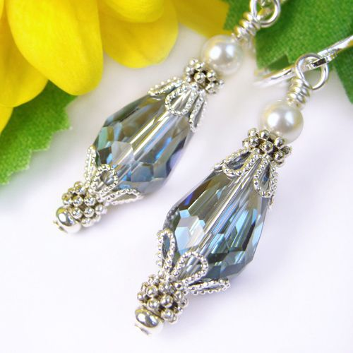 Crystal Clip On Earrings with White Pearls, Sparkly Blue, Non Pierced | PrettyGonzo - Jewelry on ArtFire