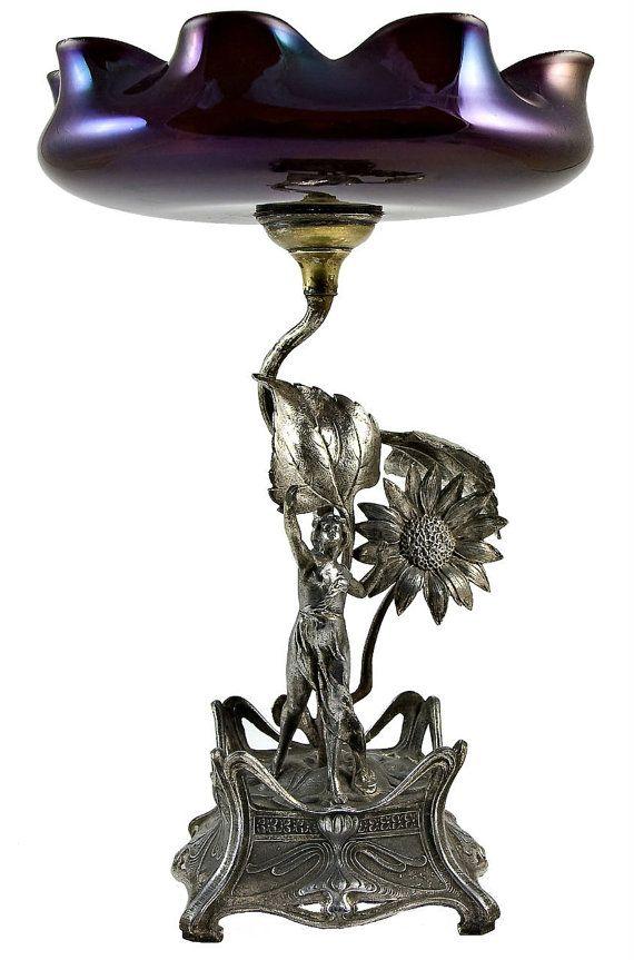 Antique German Art Nouveau Silver Plated, Iridescent Glass Figurative Tazza Or Stem Bowl     c. 1900
