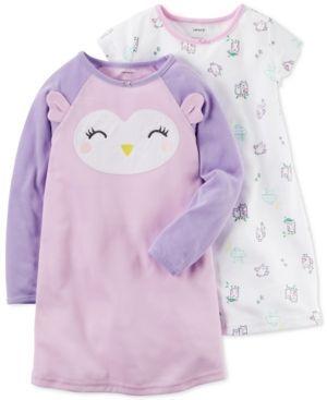 Carter's 2-Pk. Owl Nightgowns Set, Little Girls (2-6X) & Big Girls (7-16) - Multi 12-14