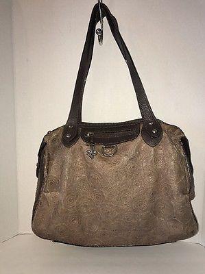 Couture Donald J Plainer Women's Brown Leather Rose Handbag Purse Large L  | eBay