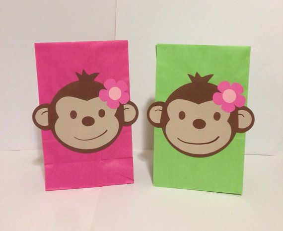 Pink Mod Monkey birthday party/treat bags by PlanningWithJacen, $18.00