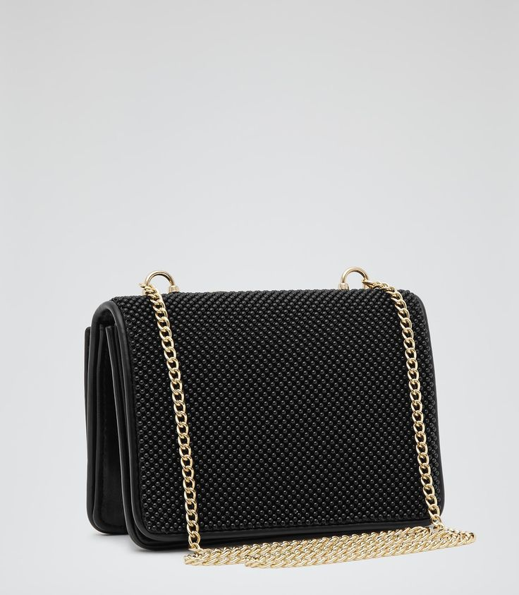 Womens Black Beaded Clutch Bag - Reiss Savannah