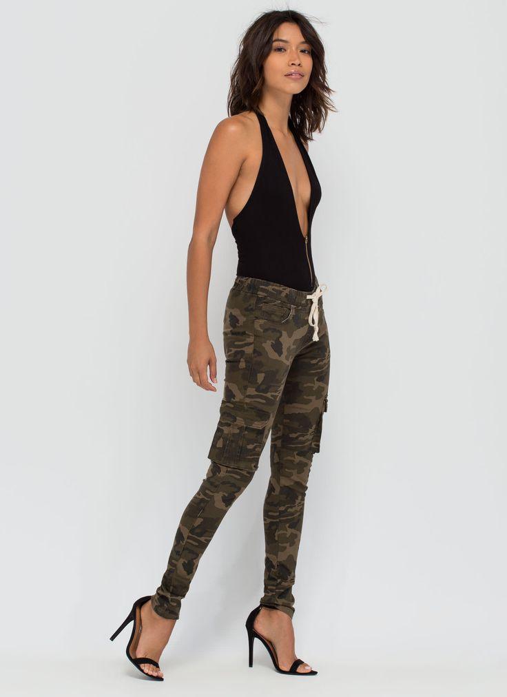 Active Duty Drawstring Camo Jeans GoJane.com