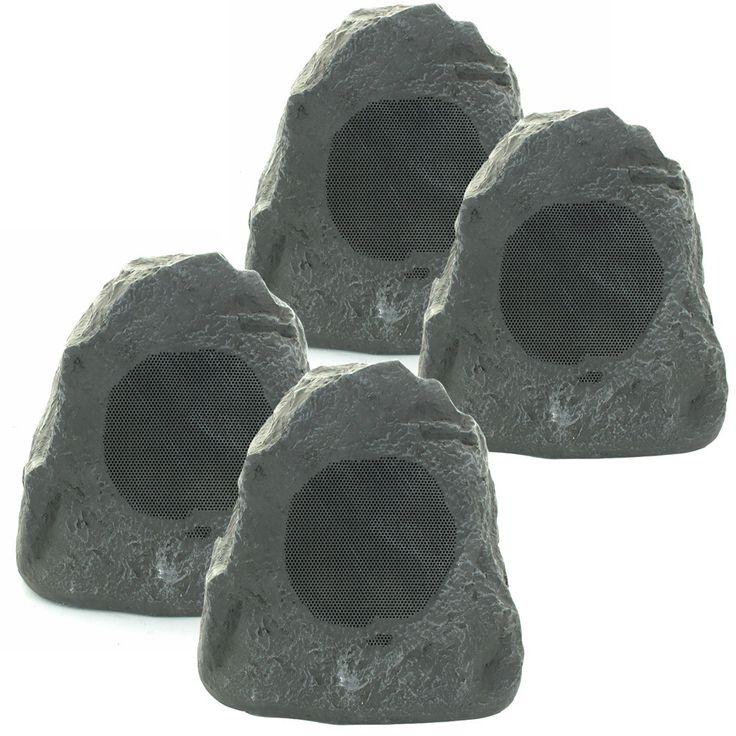 Theater Solutions 4R4L Outdoor Waterproof Lava Rock Patio Speakers 4 Piece  Set 1000 Watts New