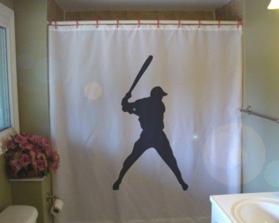 For the Baseball House next Fall - Shower Curtain baseball swing bat sport major league by eternalart, $53.00