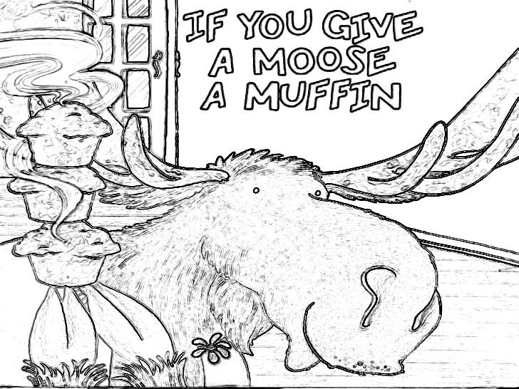 Free to Download If You Give A Moose A Muffin Coloring