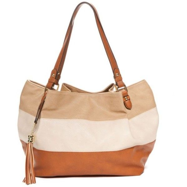 Kim Rogers Tan Combo Tan Striped Tote (1.930 RUB) ❤ liked on Polyvore featuring bags, handbags, tote bags, tan combo, tan tote bag, white purse, striped tote, striped tote bag and tote handbags