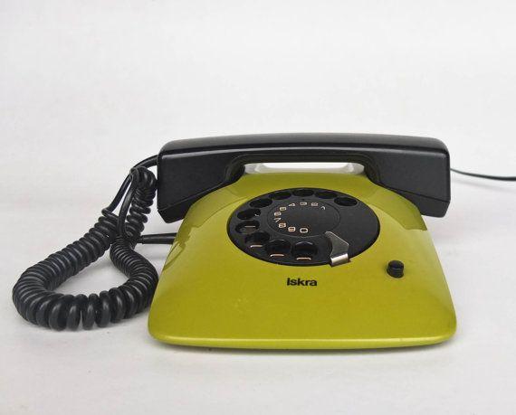 Iskra ETA 80 series vintage design classic (rotary dial version ETA 81). You are looking at the lime green ETA 81 designed by Davorin Savnik
