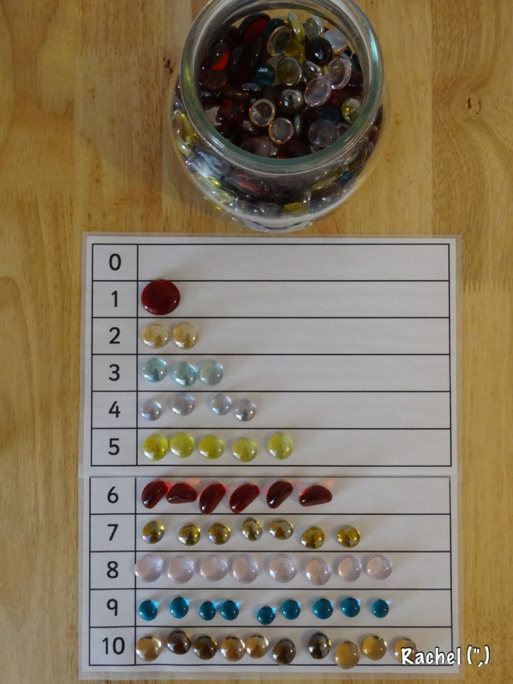 """Counting & numeral recognition with glass nuggets - from Rachel ("""",)"""