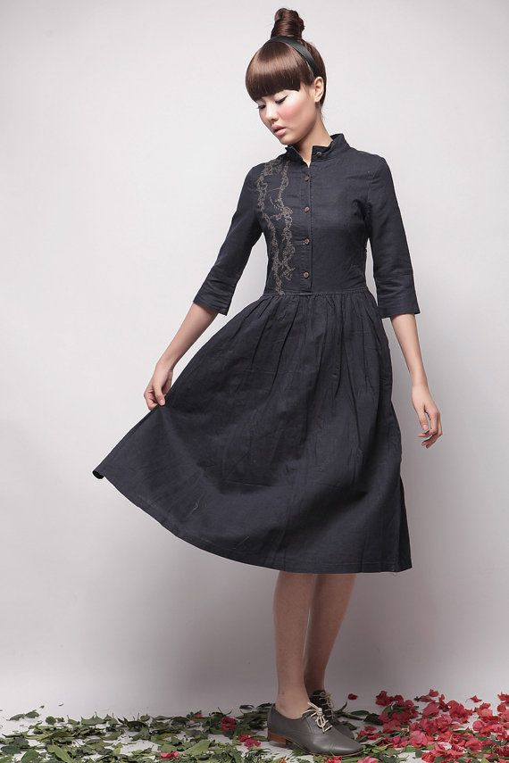 HOT Preppy style Comfortable Linen cotton Middle Length Sleeves Button Down Summer Day dresses SVXL3-18