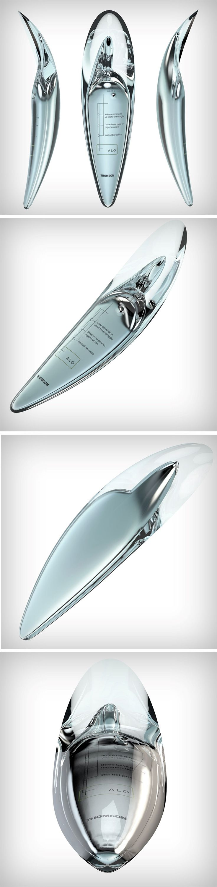 A conceptual product designed with Philippe Starck more than 20 years ago, the Alo phone was recently relaunched as a refined design concept for a phone. Made for a future dominated by Siris and Alexas, the Alo phone comes without a screen and relies solely on voice communication. The phone's body is made of a gelatinous material wrapped around an aluminum unibody, and its form designed to be placed perpetually against the ear.