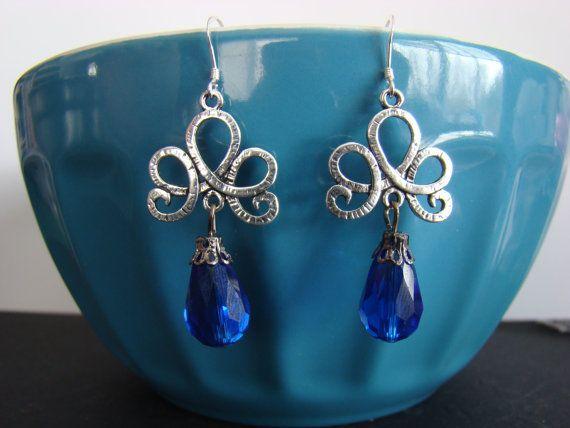 Blue Loop and Swirl Dangle Earrings by KraftsByKeller on Etsy, $9.00
