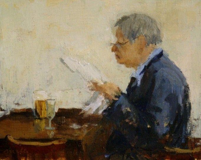 Artist Malie Baehr - Gentleman with Newspaper